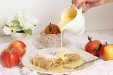 Štrudla s jabukama u umaku od vanilije